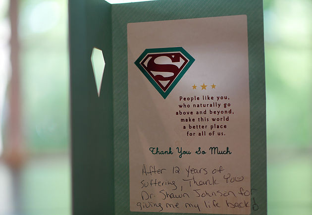 A thank you card from patient thanking her doctor for her treatment and recovery.